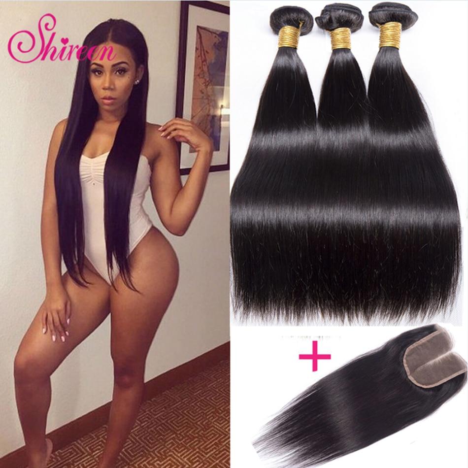 Shireen Brazilian Straight Hair Bundles With Closure 3 Bundles With Closure 4pcs/lot Brazillian Hair Weave Bundles With Closure