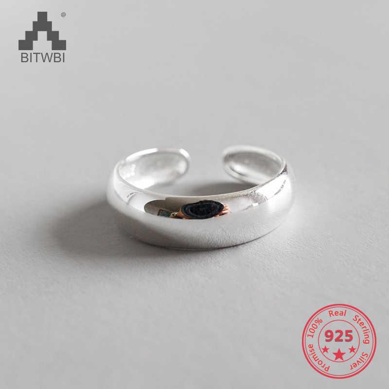 S925 เงิน minimalist เรียบเปิดแหวนเงินหญิง