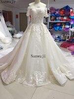Vestido De Festa Boat Neck Hlaf Sleeve Boat Muslim Ball Gown Wedding Dress Beadings And Crystals