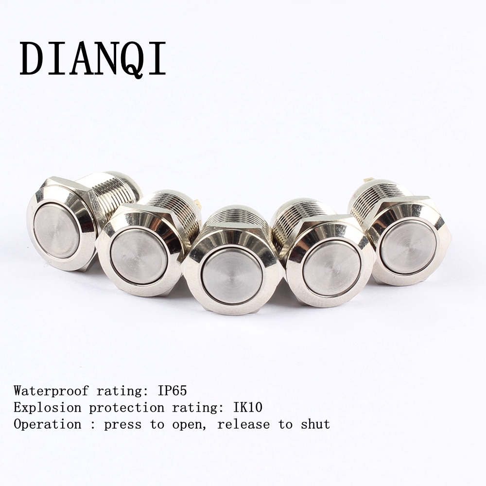 12mm Flat metal push botton waterproof Nickel plated brass push button switch 1NO momentary 12PN,F.K 6 10 mm brass nickel plated m20 1 5 mm electric cable gland waterproof x 10