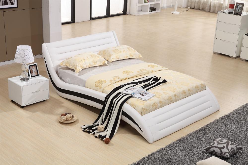 Bedroom Furniture Modern Design Top Grain Leather Soft Bed,1.8*2 Meter,  Solid