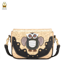Hot Sale 2016 New Fashion Wild Lady Bags Cute Owl Shoulder Messenger Bag Tide Faux Leather  Casual Flap for Girl Free Shipping