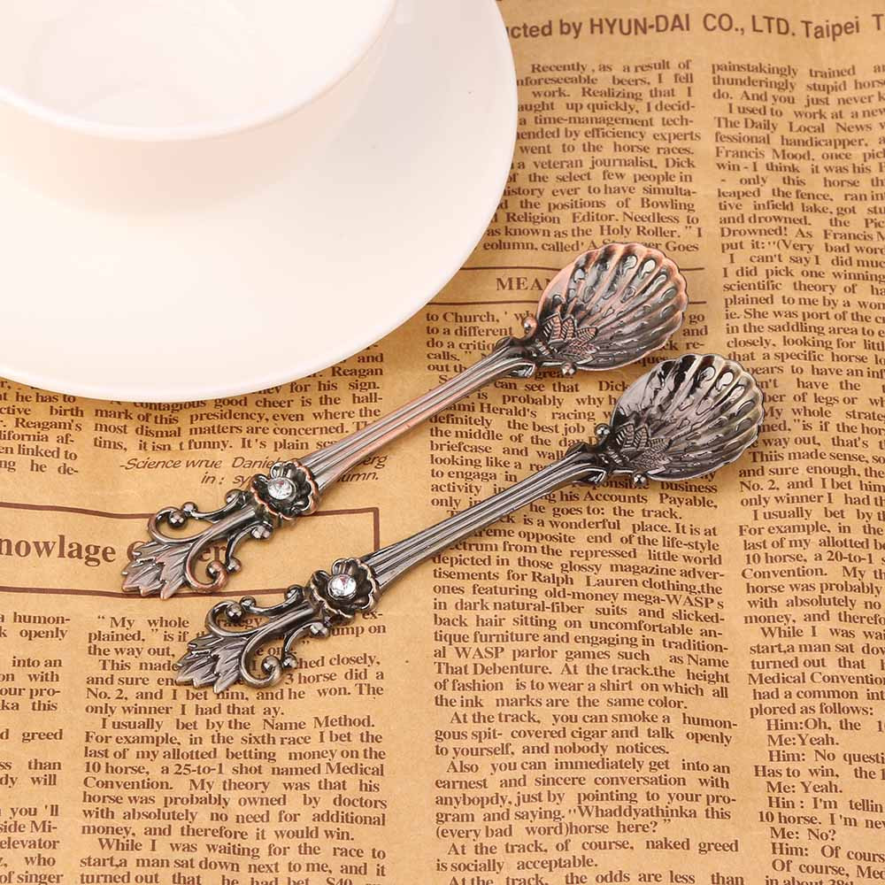 ZMHEGW Iris Retro Luxury Style Coffee Sugar Tea Dessert Spoon Fork Kitchen Tableware 2018 hot sale