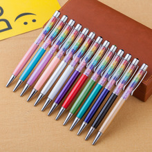 Rainbow Colored Gem Pen Crystal Metal Ballpoint Stylus Touch Screen Roller Ball 30pcs/lot