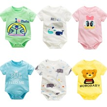 hot deal buy 2019 baby short sleeve jumpsuit summer 100%  cotton rompers newborn o-neck cotton baby boy girl clothes toddler infant rompers