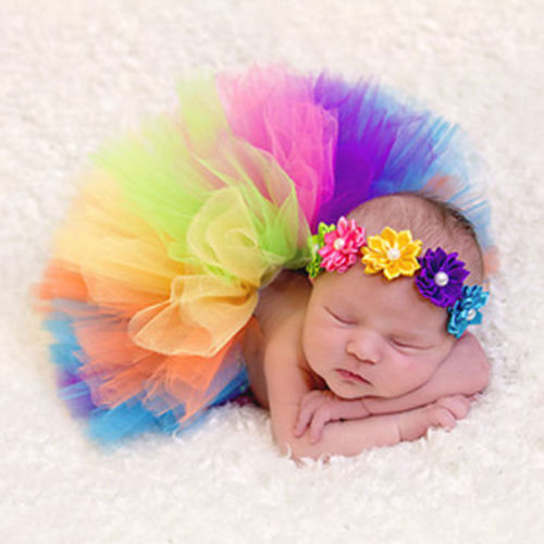 Emmababy 2019 New Newborn Headdress Flower Rainbow Tutu Skirt Baby Girls Photography Prop Outfit Pullover Sunsuit Sets