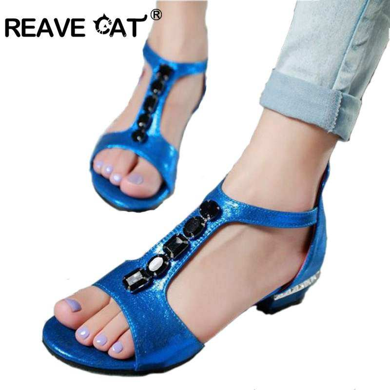 e248b93741f0 REAVE CAT Big size 31-48 Summer shoes women sandals gladiator Woman shoes  bead bohemia