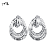 YWHL fashion gold geometric charm exaggerated pendant earrings, silver punk three-layer Circle jewelry earrings