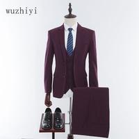 Wuzhiyi платье Штаны твид индивидуальный заказ Для мужчин Выпускной костюм блейзеры Ретро Tailor made Slim Fit Нарядные Костюмы для свадьбы для Для муж