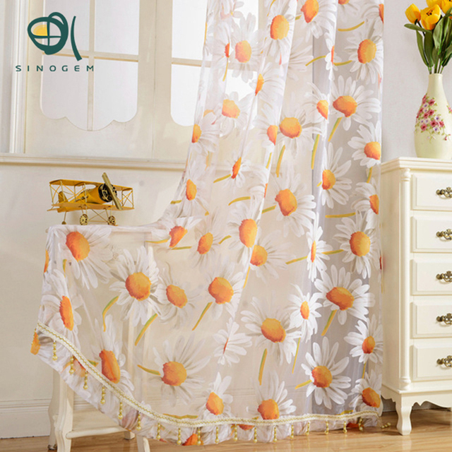 Sinogem Window Screening Balcony Finished Product Burnout Design Flower  Tulle Curtain For Living Room Sunflower Kitchen