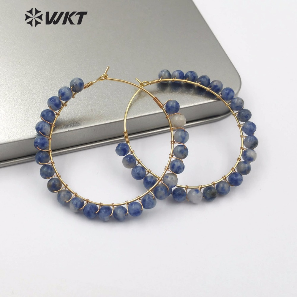 WT E513 Ethnic Style Design Large Metal Circle Natural Stone Earring Jewelry Multicolor Round Gem stone