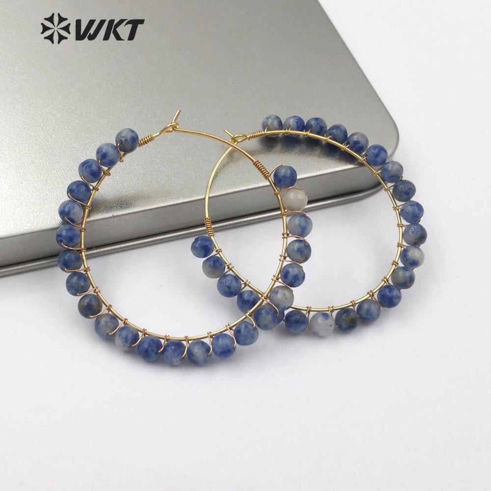 WT E513 민족 스타일 디자인 대형 금속 원형 천연 석재 귀걸이 쥬얼리 여러 가지 빛깔의 라운드 보석 스톤 비즈 매력 귀걸이-에서드롭 이어링부터 쥬얼리 및 액세서리 의  그룹 1
