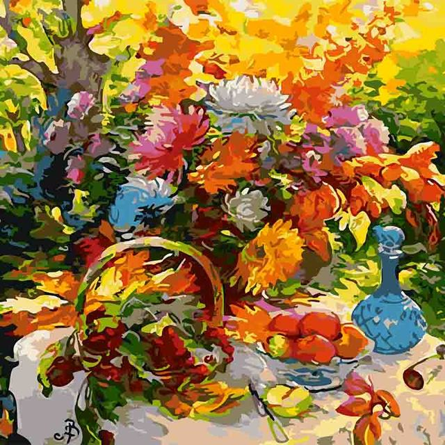 Colorful Charming Flower Diy Oil Painting By Numbers Kits Wall Art Picture  Home Decor Acrylic Paint