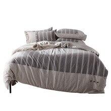 4 шт./компл. одеяло постельных принадлежностей серый+ белый полосы сладкие ночные сны пододеяльник простыня, наволочка из хлопка 2 размера L/XL