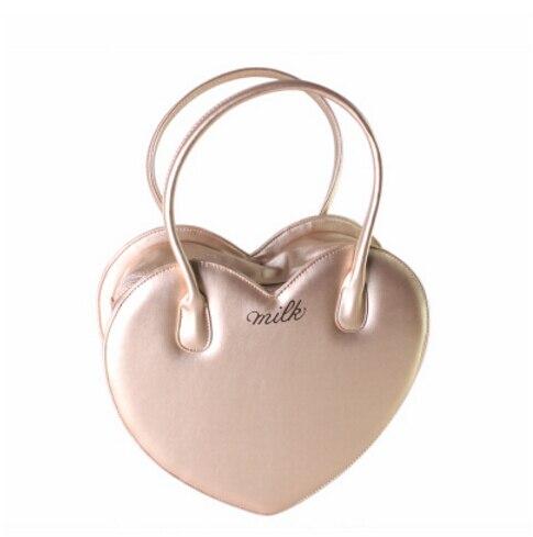 Japan Lolita Heart Shape Golden Bag pretty Handbag Girl Shoulder Bag makeup Bag 32x34x10cm трикотаж lolita angelic pretty