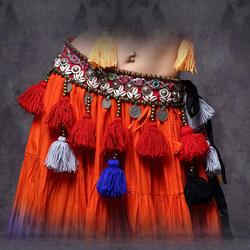 ATS Для женщин танец живота Пояс на бедра пояс с бахромой 80/85 см регулируемой посадки хип шарф для Племенной танец живота хип ремень Prossional