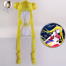 Sailor Moon Tsukino Usagi Cosplay Wig 90cm Crystal Long Lemon Yellow Blonde Wigs Costume Heat Resistant Synthetic Hair Perucas стоимость