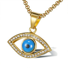 Womens & Mens Charm Cubic Zirconia Evil Eye Pendant Necklace Blue Turkish Amulet Jewelry