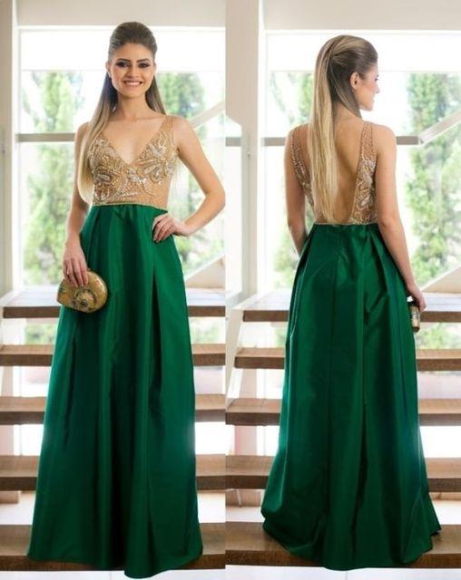 f353daba5 Elegant A-Line Dark Green Long Evening Dresses 2017 V-Neck Tank Satin  Applique