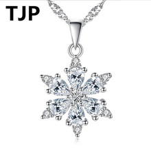 TJP New Arrival Clear Crystal Snowflake Design Pendants Necklace Jewelry 925 Silver Choker For Women Wedding Accessory