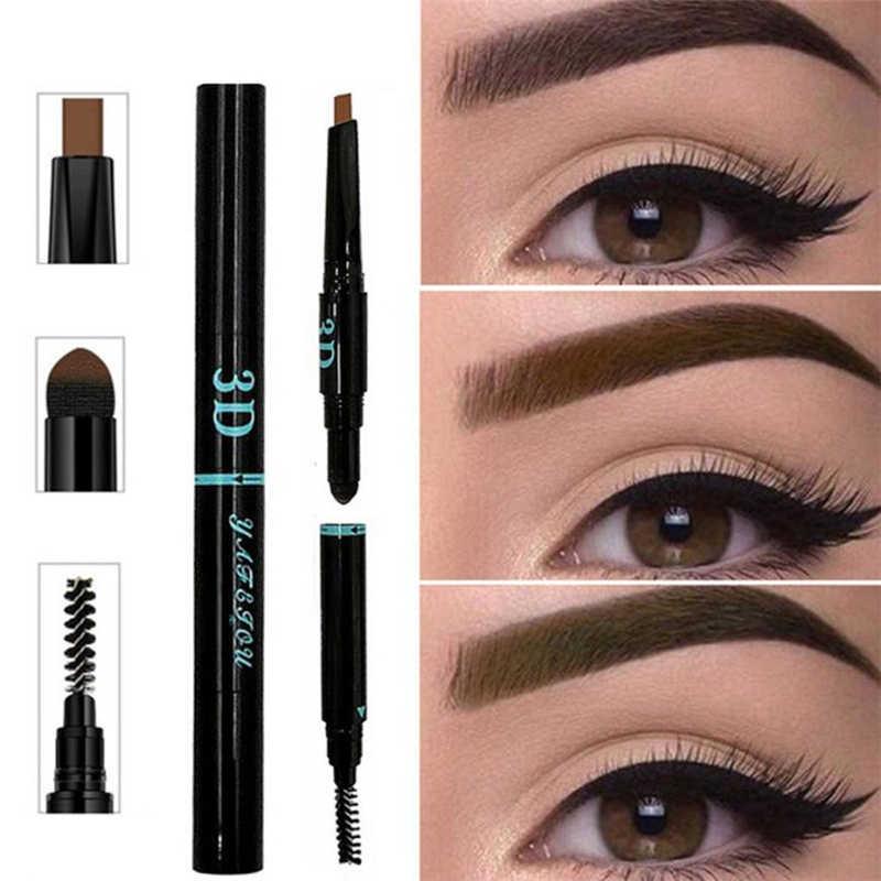 3 IN 1 Wasserdichte Multifunktionale Automatische Augenbraue Pigment Make-Up Kit Schönheit Lange anhaltende Augenbraue Enhancer