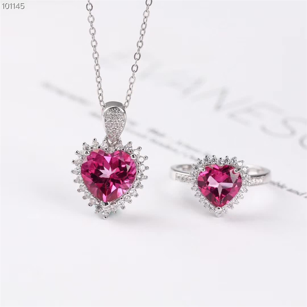 Engagement Jewelry Heart Shaped Natural Pink Topaz Gems Silver Necklace Pendant