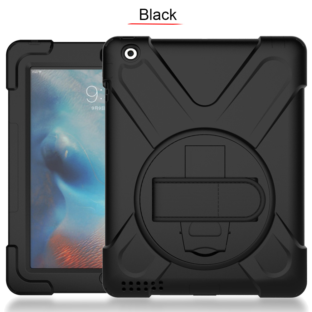 360 Degree Swivel Stand/Handle Stand &Amp; Shoulder Strap Cover Three-Layer Hybrid Full-Body Protective Case For Apple Ipad 234
