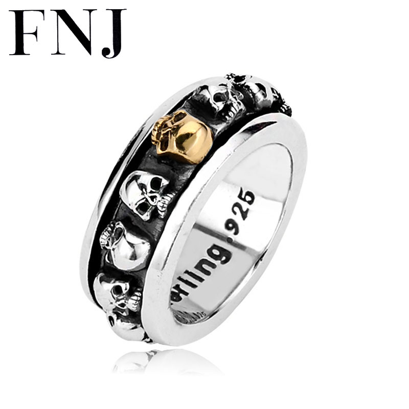 FNJ Skull 925 Silver Rings for Men Boy Jewelry Punk Vintage S925 Solid Thai Silver Skeleton