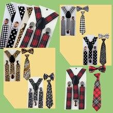 Комплект из 3 предметов для мальчиков и девочек; Детский комплект на подтяжках с бабочкой и галстуком-бабочкой; комплект с подтяжками для свадебной вечеринки; TR0004