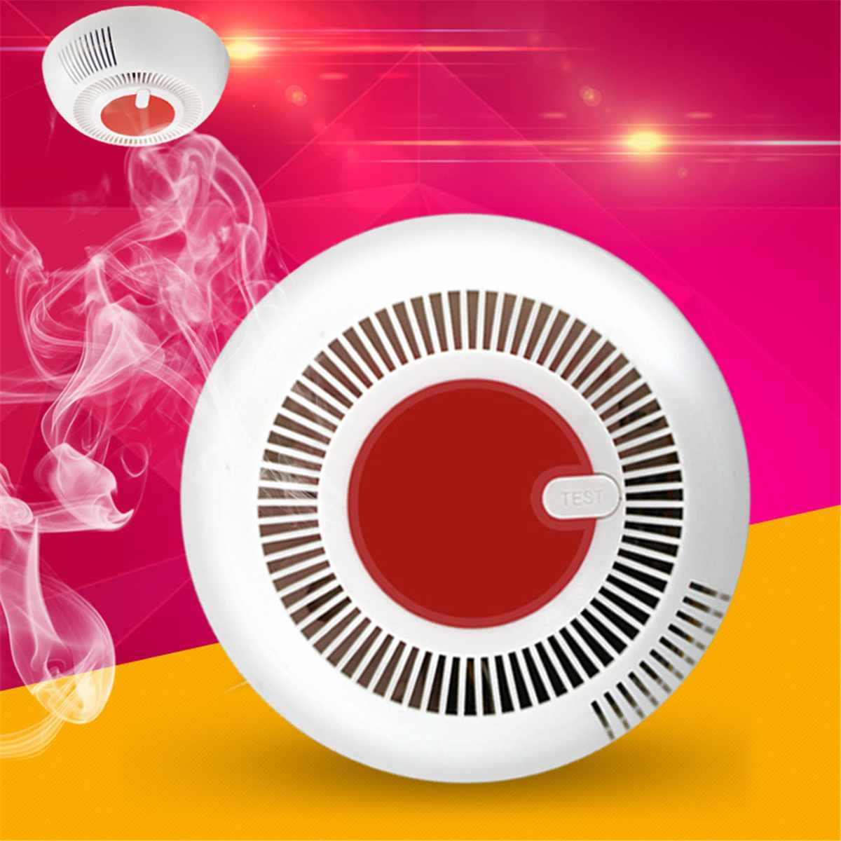 White Wireless Smoke Detector Home Security Alarm Sensor System Infrared Photoelectric Sensor Protection Battery Operated