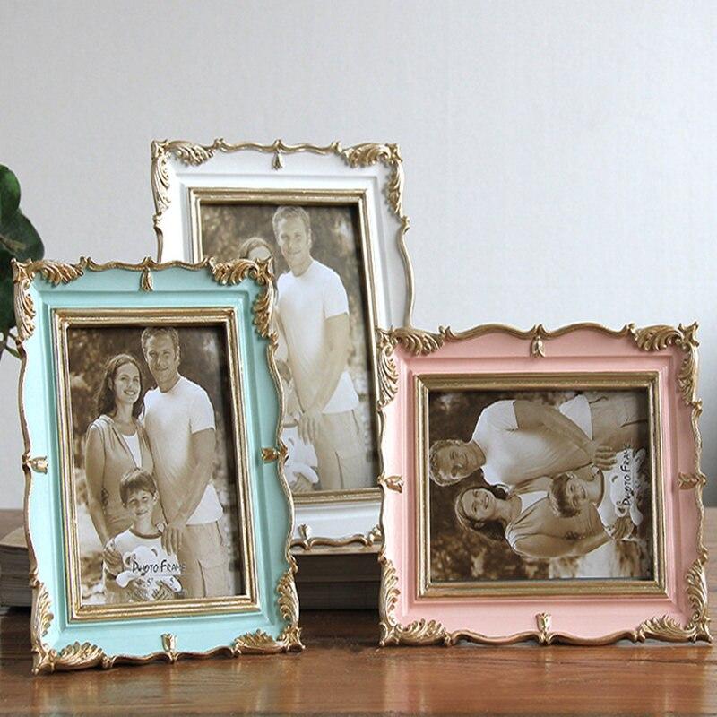 Molduras de Casamento Da Foto do Quadro de Mesa de alta Qualidade em Estilo Americano Sala de estar Home Decor Resina Photo Frame Presente Popular