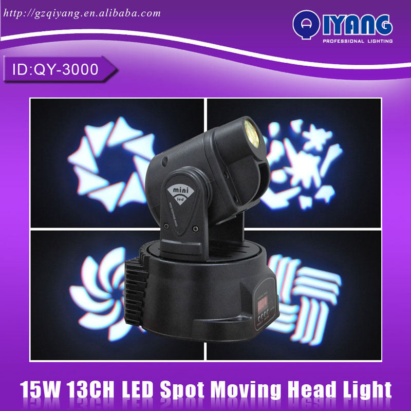 QY-3000 15w Spot led moving head light Family Party KTV Karaoke high quality cheap price professional Mini led stage light