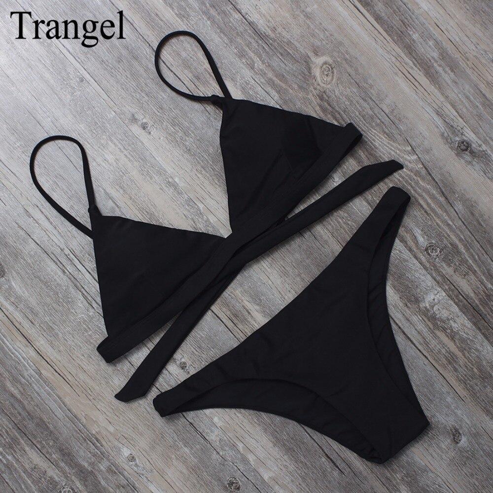 Trangel 2018 black sexy swimwear women swimsuit trangel top bikini set summer beachwear low waist bathing suit Brazilian bikinis
