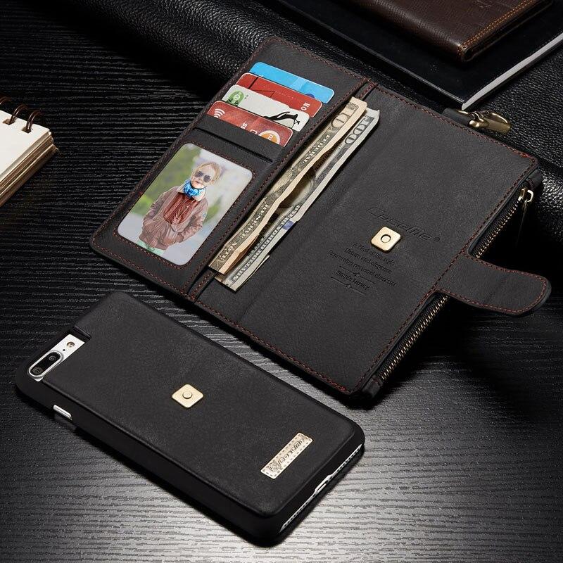Caseme для iPhone 7 6 6 S плюс 4.7 дюймов многофункциональный металлический зажим Разделение кожаный бумажник съемная 2 в 1 чехол для iphone7