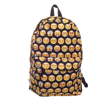 Emoji black 3D printing 2016 High Quality Women Canvas Backpacks Smiley School Bag For Teenagers Girls Shoulder Bag Mochila