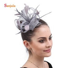 01f71a4d Small Cute Line Wedding Hats for Bridal Feathers Fascinators Girls Party  Hair Wear Accessories tocado boda