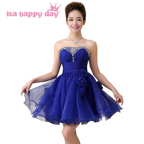 Red Formal Beaded Sweetheart Sexy Royal Blue Short Strapless Prom