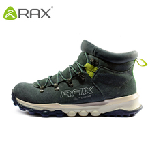 RAX Men Genuine Leather Hiking Shoes Outdoor Waterproof Women Warm Sneakers Breathable Outdoor Sports Shoes Men Walking Sneakers