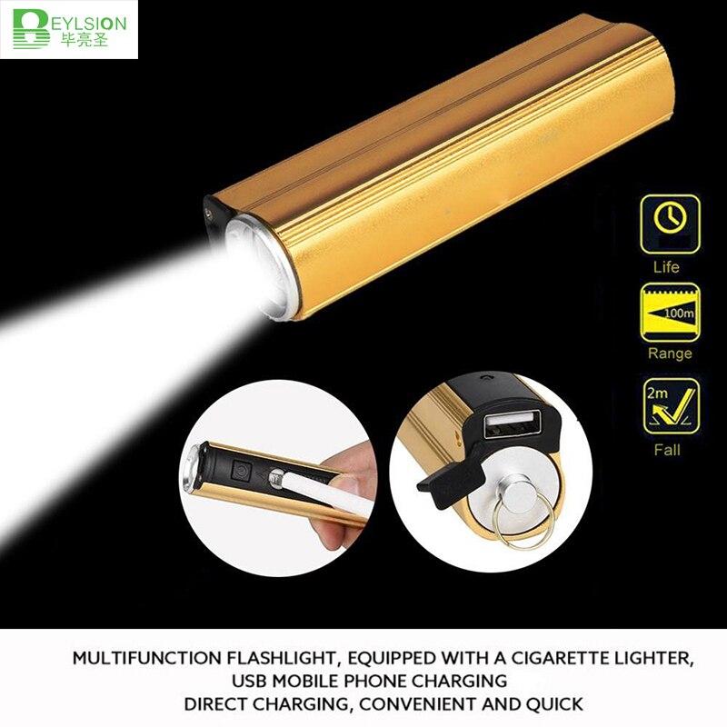 1x Usb Lampe Multi-funktion 18650 Led Aufladbare Taschenlampe Power Bank Elektronische Zigarette Leichter Exzellente QualitäT