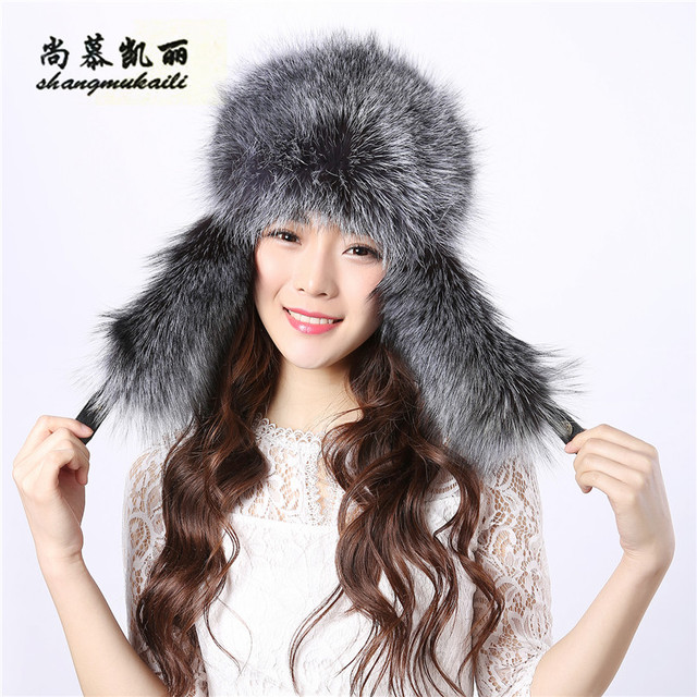 6f4f3b8444c Top quality fur cap thick warm winter hat for Russian Fur Bomber Hats for  women ear protect 56-64CM brand natural fur cap female
