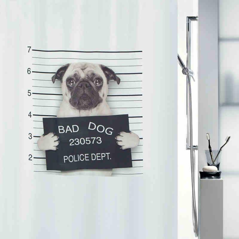Eco-friendly High Quality Bad Dog Bath Curtain Waterproof Bathroom Polyester Fabric Shower Curtain 180*200cm Lead Rope Free Ship