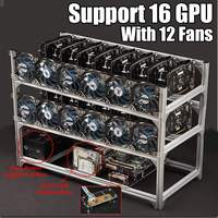 S SKYEE USB Switch Brand New Aluminum 16 GPU Open Air Mining Rig Frame Case 12