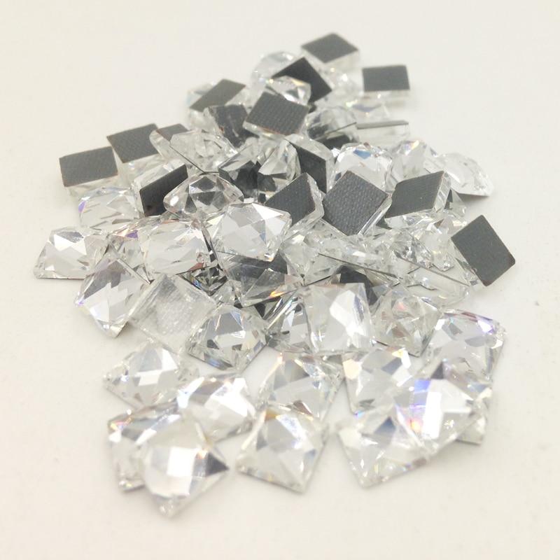 LNRRABC New 100 piece/lot Square Strass Stones  Rhinestones Diamond Sewing Beads for Wedding Dress Nail Art Not Hot Fix