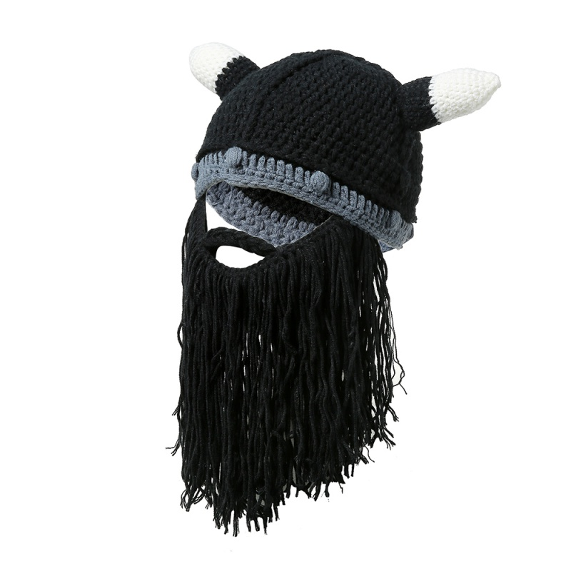 Xmas Gifts Viking Beanie Beard Horn Hat Handmade Knit Winter Warm Cap Men  Women Birthday Cool faaa63f63673