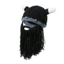 1e8ab4494a1f8 Xmas Gifts Viking Beanie Beard Horn Hat Handmade Knit Winter Warm Cap Men  Women Birthday Cool