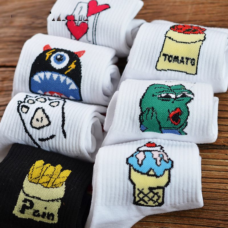 New Korean Novelty Women Cotton Crew   Socks   Funny Frog Ice Cream Tomatoes Pattern Creative Harajuku Novelty White Funny Girl Sox