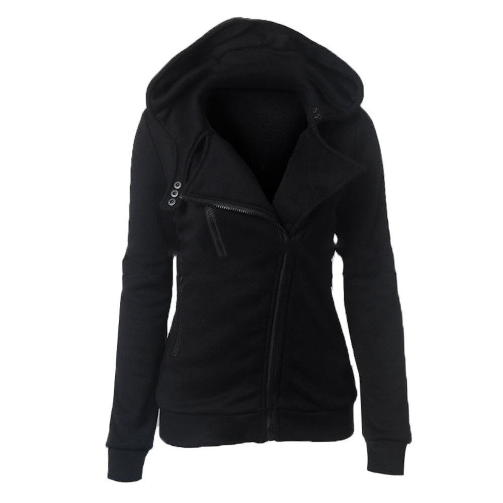 Rosetic Gothic Women casual hoodie sweatshirt solid 2018 fall winter slim lapel zipper hooded multi color warm hoodies outwear