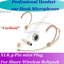 MICWL Beige Comfortable Cardioid directivity Headset Microphone for Shure Wireless Headworn Bodypack System