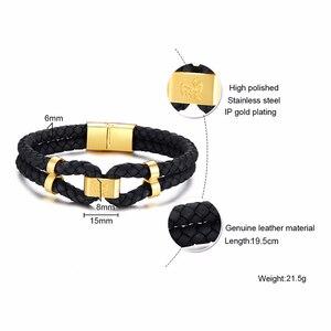 Image 5 - Vnox pulsera de cuero negro con broche de acero inoxidable para hombre, brazalete de piel auténtica, estilo chino, informal