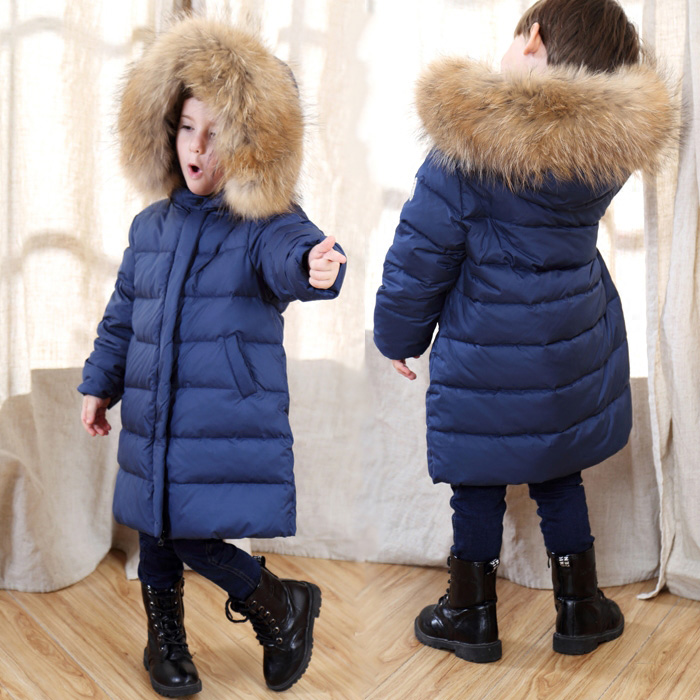 Russia Winter 90% White Duck Down Jacket Baby Thicken Long Clothes Boys Girls Hooded Overcoat Kids Warm Snowwear -30 Degree Coat 2017 kids down jacket boys girls 90% white duck down coat children raccoon fur hooded baby thicken warm 30 degrees clothes suit